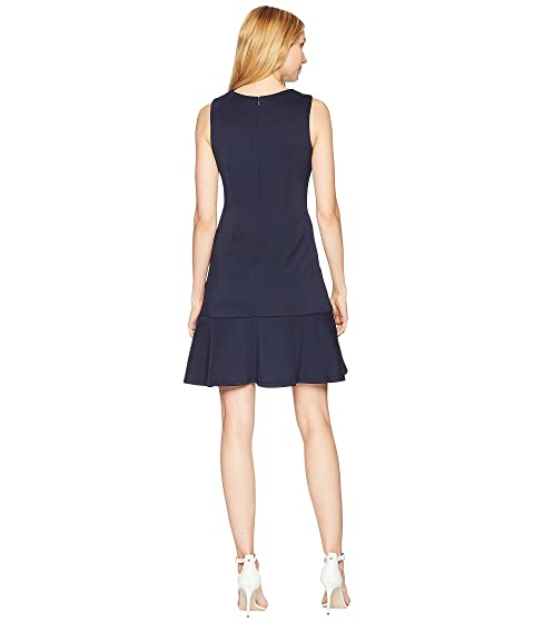 Cheap Sale Pre Order Free Shipping Find Great Ivanka Trump Scuba Drop Waist Fit and Flare Sleeveless with Pearl Hardware Navy Clearance Marketable Brand New Unisex Sale Online WqEPo