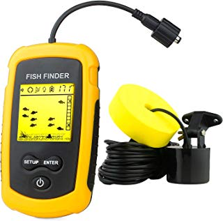 Venterior VT-FF001 Portable Fish Finder, Handheld Fishfinder Fish Depth Finder with Sonar Sensor Transducer and LCD Display