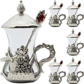 Alisveristime (Set of 6 Handmade Turkish Tea Water Zamzam Serving Set Glasses Saucer (Silver)