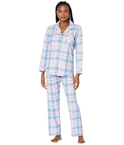 LAUREN Ralph Lauren Classic Woven Long Sleeve Notch Collar Long Pajama Set (Pink Plaid) Women