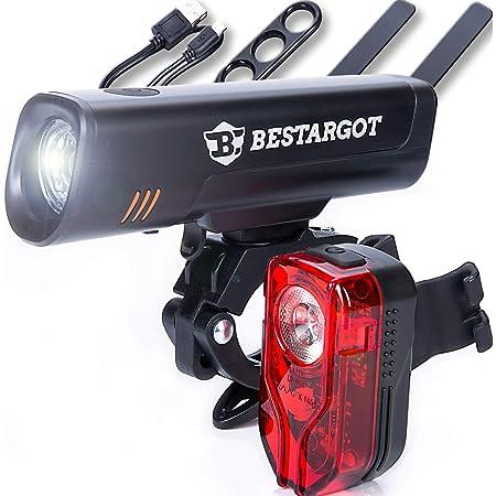 Nurkoo Fahrradlicht LED Set USB Wiederaufladbare Frontlicht R/ücklicht Wasserdicht Fahrradlichter Fahrradbeleuchtung