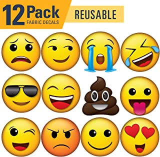 Vinyl Friend Emoji Icons Wall Decal Pack of 12 4.4in x 4.4in - Reusable - REAPPLY - Fabric Material (XSmall, 12 Pack 1)