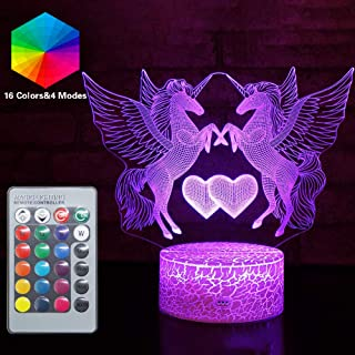 Double Heart Unicorn Night Lights Lovely 3D Vision Effect LED Nightstand Lamp Remote Control & 16 Colors Change Festvial Birthday Xmas Holiday Party Gift Ideas for Girls Teen Lady (Unicorn K(Remote))