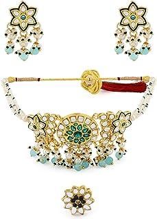 Zaveri Pearls Green Beads & Kundan Choker Necklace Earring & Ring Set For Women-ZPFK11066