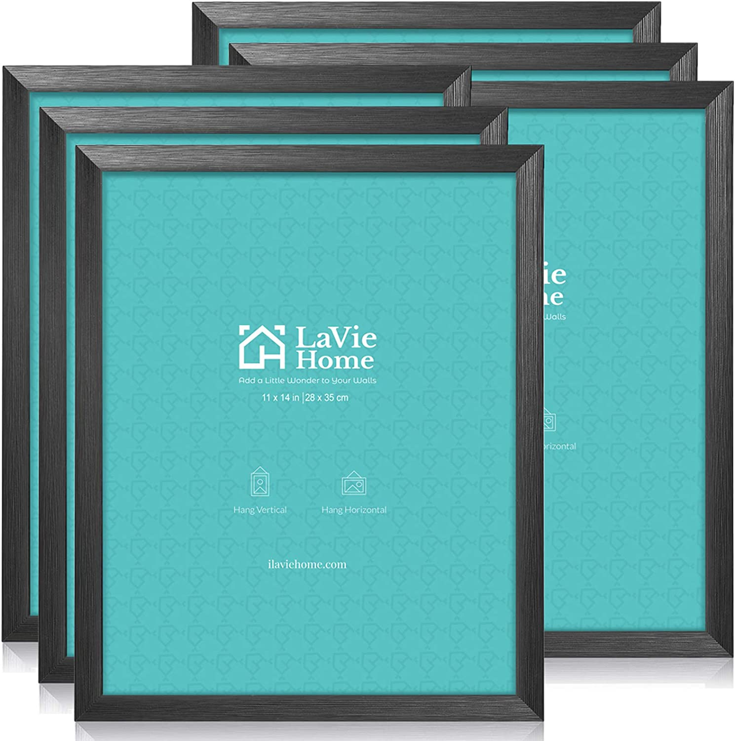 LaVie Home 11x14 Picture Frames (6 Pack, Black) Photo Frame with Simple Lines, High Definition Glass for Wall Mount Display,Set of 6 Zest Collection