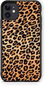 for iPhone 11 Case- Fashion Leopard Print Pattern Design Cheetah Design-Soft TPU+Luxury Tempered Mirror Protective for iPhone 11 Case (B)