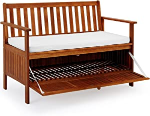 Deuba Wooden Garden Bench 2 Seater With Storage Chest Made of Hardwood Water Repellent Cushion