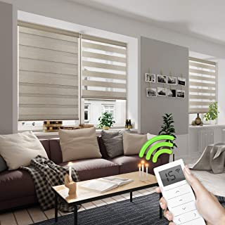 Yoolax Motorized Day and Night Window Shades, Horizontal Zebra Dual Roller Shades Blinds Wireless & Rechargeable Remote Control Shades for Home Office Customized (Luxury Coffee)