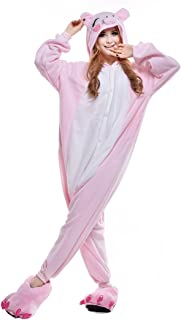 NEWCOSPLAY Pink/Black Pig Costume Sleepsuit Adult Pajamas