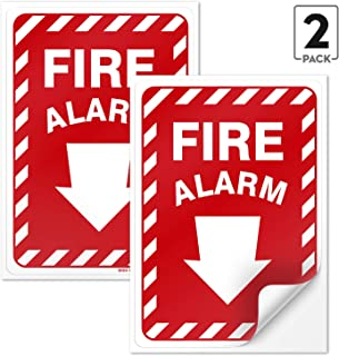 Fire Alarm Sign (10 x 7 inches) with Arrow (2 Pack Vinyl Stickers)