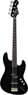 Fender Aerodyne Jazz Electric Bass Guitar, Rosewood Stained Fretboard, No Pickguard - Black