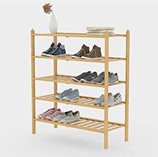BAMFOX 5-Tier Shoe Rack,Bamboo Stackable Shoe shelf Storage Organizer For Entryway, Hallway, and Closet
