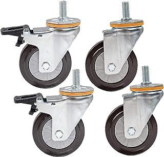 STEM M14/16 zwenkwielen, industriële transportwielen, materiaal rubber, eenvoudige wiel, 4 stuks, belasting 112 kg (kleur:...