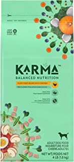 KARMA BALANCED NUTRITION Adult Plant-First Recipe, Natural Dry Dog Food with Chicken, 4 lb. Bag