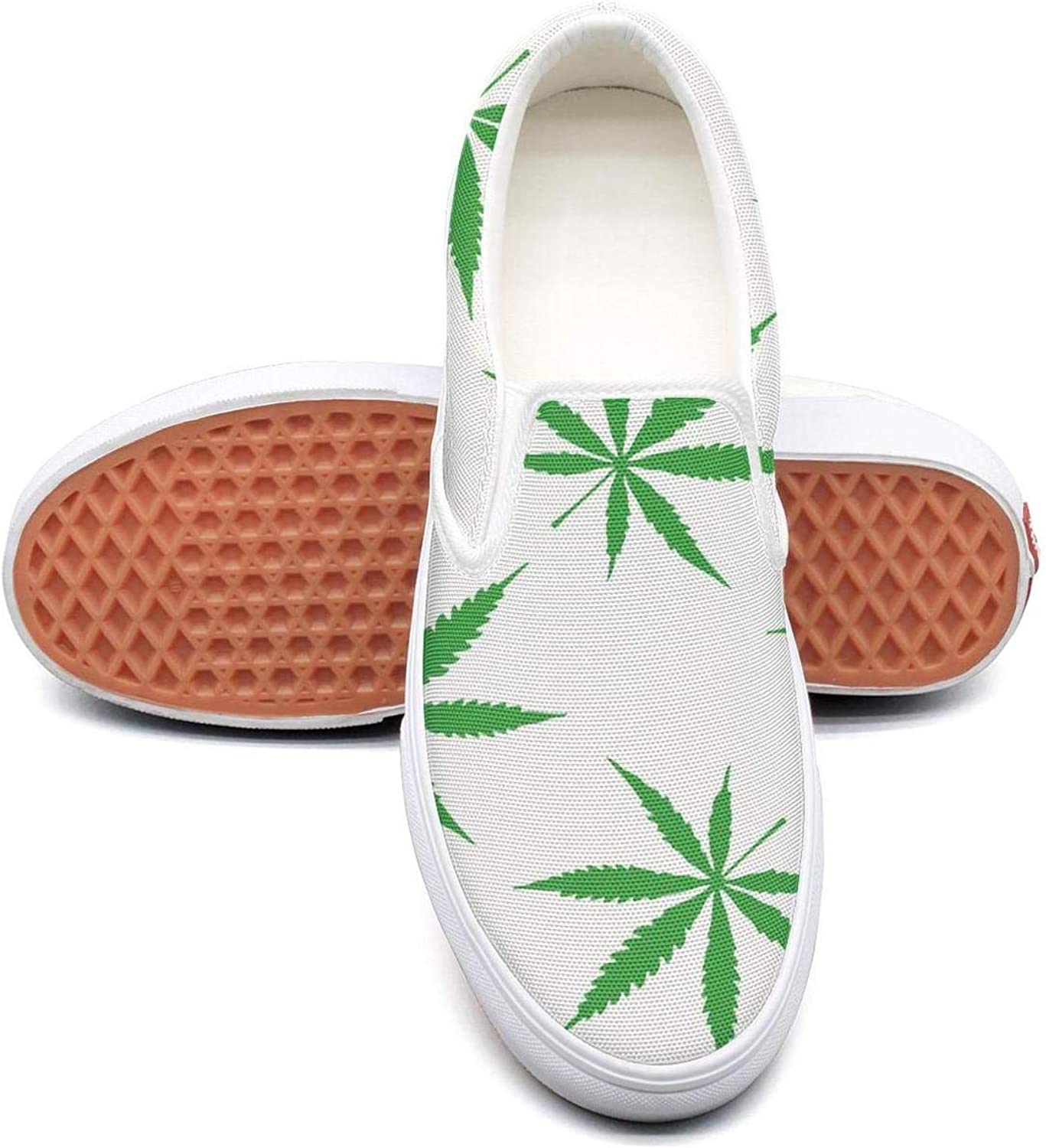 SKULLP Cannabis Leaf Marijuana Weed Walking shoes for Women Lo-Top Skid-Proof Casual shoes
