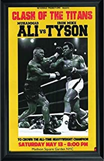 Muhammad Ali & Mike Tyson Wall Art Decor Framed Print | 24x36 Premium (Canvas/Painting Like) Textured Poster | Iconic Boxing Greatest Fan Picture Artwork | Memorabilia Gifts for Guys & Girls Bedroom