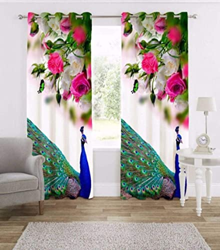 Harshika Home Furnishing Polyester Grommet Door Curtain, 4 X 7, Multicolour, Pack of 1
