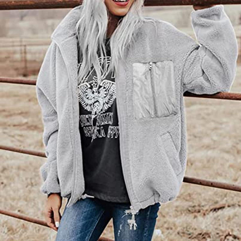 Women's Fashion Long Sleeve Lapel Zip Up Faux Shearling Shaggy Oversized Coat Sherpa Jacket For Winter
