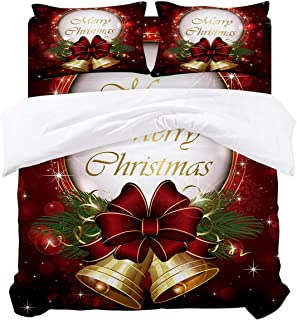 Family Decor Red Bedding Duvet Cover 4 Piece Set, Custom Merry Christmas Print Hypoallergenic Microfiber Comforter Cover Bedspread and 2 Pillow Cases - King