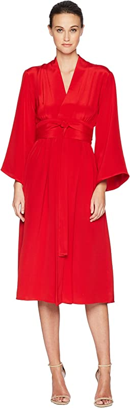 Silk Crepe Kimono Sleeve Dress w/ Belt