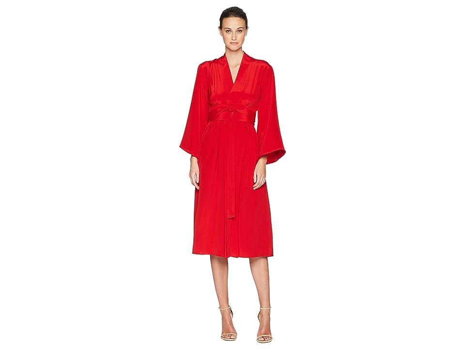Adam Lippes Silk Crepe Kimono Sleeve Dress w/ Belt (Firecracker) Women