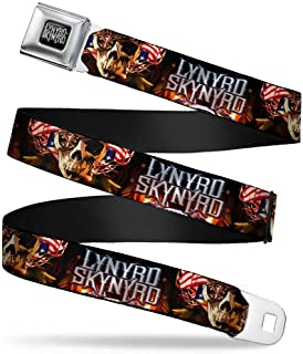 Buckle-Down Seatbelt Belt - LYNARD SKYNARD Smoking Skull/US Flag Flames - 1.0