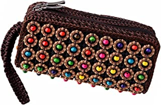 D DOLITY Fashion Ethnic Woven Beads Wallet Purse Lady Long Pouch Bag Women's Handbag