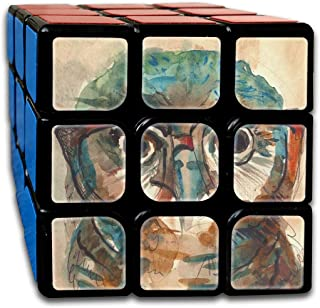 Wise Owl with Glasses Watercolor Inspiring Speed Cube 3x3 Smooth Magic Square Puzzle Game Black