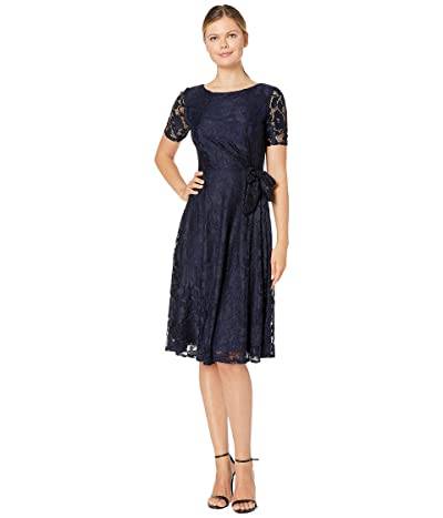 Tahari by ASL Elbow Sleeve Stretch Lace Dress w/ Side Shirring (Navy) Women