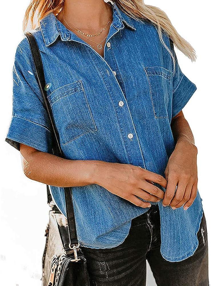 chouyatou Women's Casual Short Sleeve Button Down Denim Jean Shirts Blouse Tops