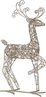 Champagne Gold Wire Christmas Reindeer Standing Figure - Tabletop Holiday Decoration (Facing Forward)