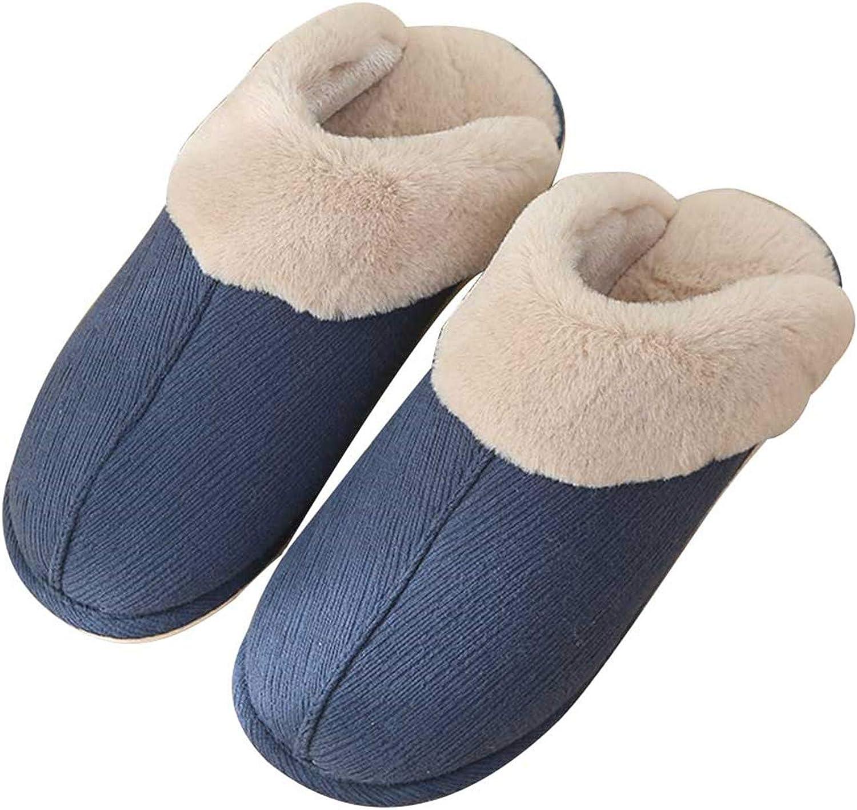 JACKSHIBO Mens Womens Winter Memory Slippers Outdoor Slip-On Fur Lined Slipper Breathable House shoes