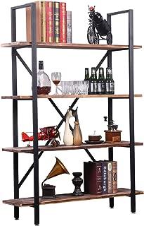 4-Shelf Modern Industrial Style Bookcase, Vintage Solid Wood and Black Metal Frame, Rustic Book Shelf, Storage Display Shelves, Open Etagere Bookcase,Free Standing Storage Shelf Units