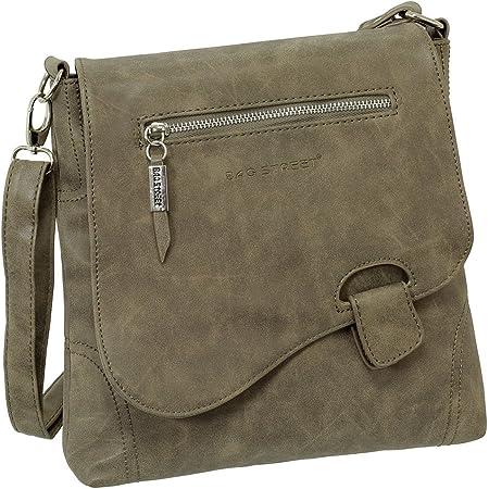 Ledershop24 Geschenkset - Handtasche Schultertasche Umhängetasche Wildleder-Imitat Used Look mit Riegelverschluss Farbe braun