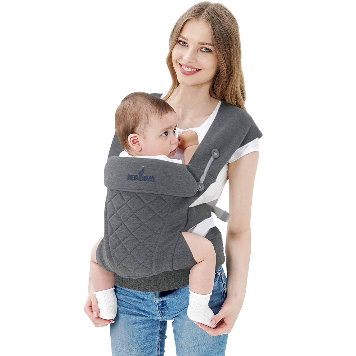 JERORAY-Baby-Carrier,All Carry Position,All Seasons,Dual Protected Waistband and Zipper Opening,Softness Breathable 3D Jersey,for Newborns 8-25 Pounds,Heather Grey