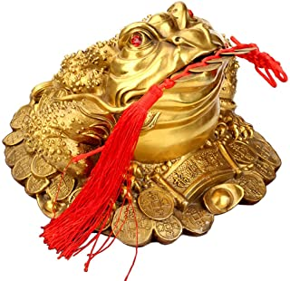Bitopbi Brass Money Frog Feng Shui Statue Three Legged Wealth Frog Good Luck Sculpture Money Toad Ornament Set of 5 Lucky ...
