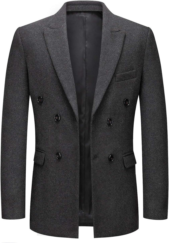 chouyatou Men's Classic Peaked Lapel Collar Slim Double Breasted Woolen Blend Formal Suit Blazer Jacket