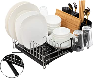 AbocoFur Dish Drying Rack and Drainboard Set, Metal Kitchen Countertop Dish Organizer with Swivel Draining Spout, Large Capac