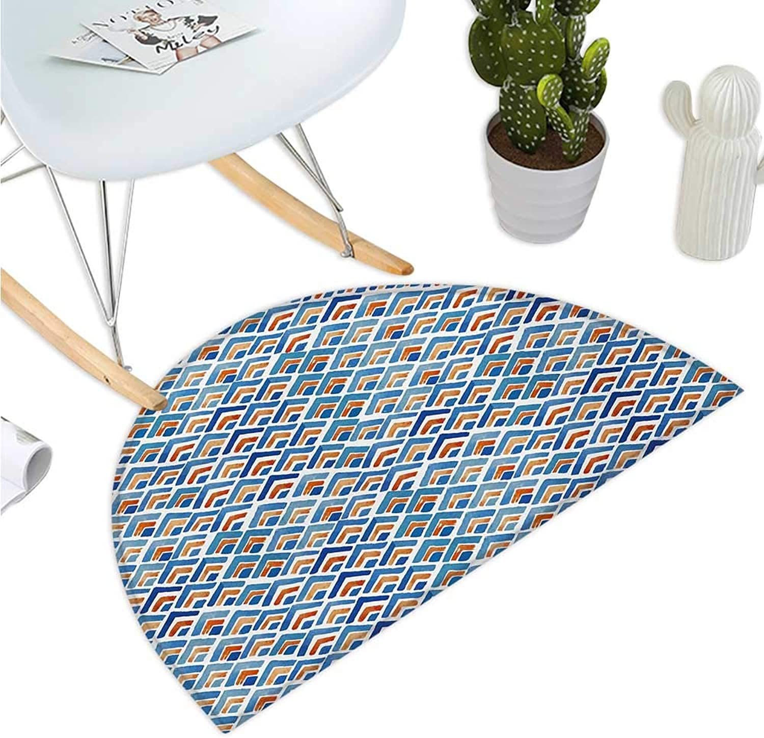 Japanese Semicircular Cushion Geometric Chevron Repeating Pattern in Watercolor Style Abstract Artwork Entry Door Mat H 51.1  xD 76.7  Pale bluee orange