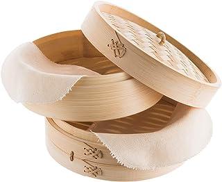 REISHUNGER Bamboo Steamer Handmade Basket, Traditional 2-Tier Design - 8 Inch - For Dumplings, Rice, Dim Sum, Vegetables, ...