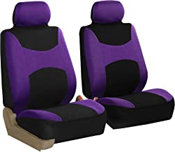 FH Group FB030102 Light & Breezy Purple/Black Cloth Seat Cover Set Airbag & Split Ready- Fit Most Car, Truck, SUV, or Van