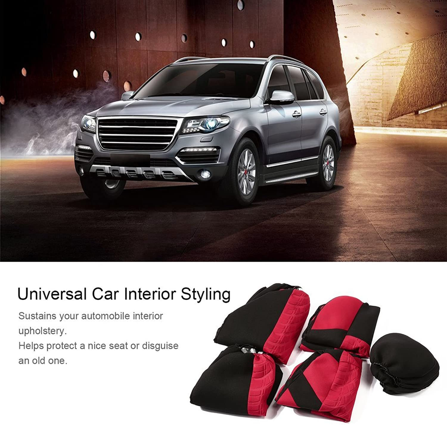 9 Pcs Set Car Interior Styling Seat Covers Washable Predective Cushion,red