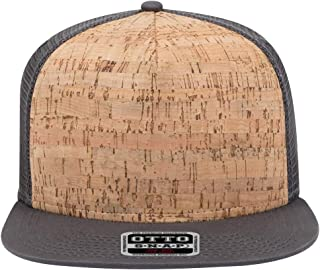 Product of Ottocap Hawaiian Pattern Cotton Twill Square Flat Visor, Five Panel Pro Style Snapback Hat -Char. Gray/Cork/Char. Gray [Wholesale Price on Bulk]
