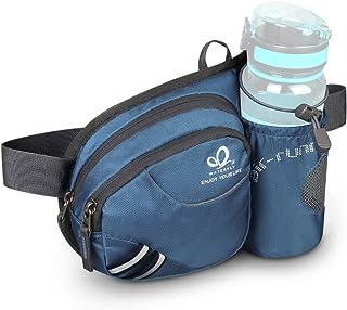Waterfly Waist Fanny Pack, Waist Pack with Bottle Holder Water Repellent Bum Bag Dog Walking Waist Bag
