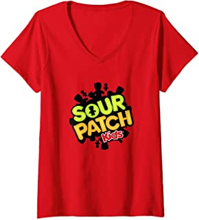 Womens Sour Patch Kids Candy Logo V-Neck T-Shirt
