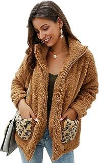 Shilanmei Womens Faux Fur Fleece Long Sleeve Zipper Loose Jacket Coat Winter Warm Fuzzy Shaggy Outwear with Leopard Pockets