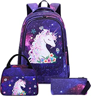 Girls Backpack for Kids Elementary Galaxy Bookbag Girly School bag Children Laptop Bag (Galaxy space - Blue-3 pieces)