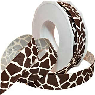 Morex Ribbon 05722/20-028 Giraffe Grosgrain Ribbon, 7/8-Inch by 20-Yard, Antique White and Espresso