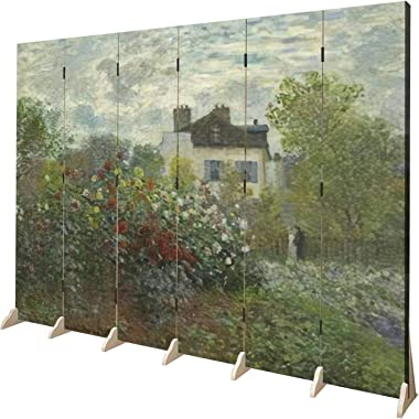 Wood Screen Room Divider The Artist's Garden in Argenteuil by Claude Monet 1873 French Folding Screen Canvas Privacy Part