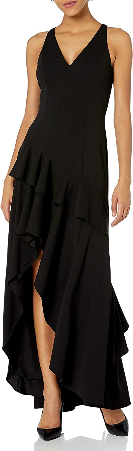 Adrianna Papell Women's Crepe Ruffle Gown